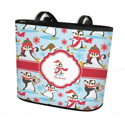 Christmas Penguins Bucket Tote w/ Genuine Leather Trim (Personalized)