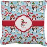 Christmas Penguins Faux-Linen Throw Pillow (Personalized)