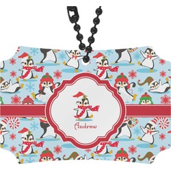 Christmas Penguins Rear View Mirror Ornament (Personalized)
