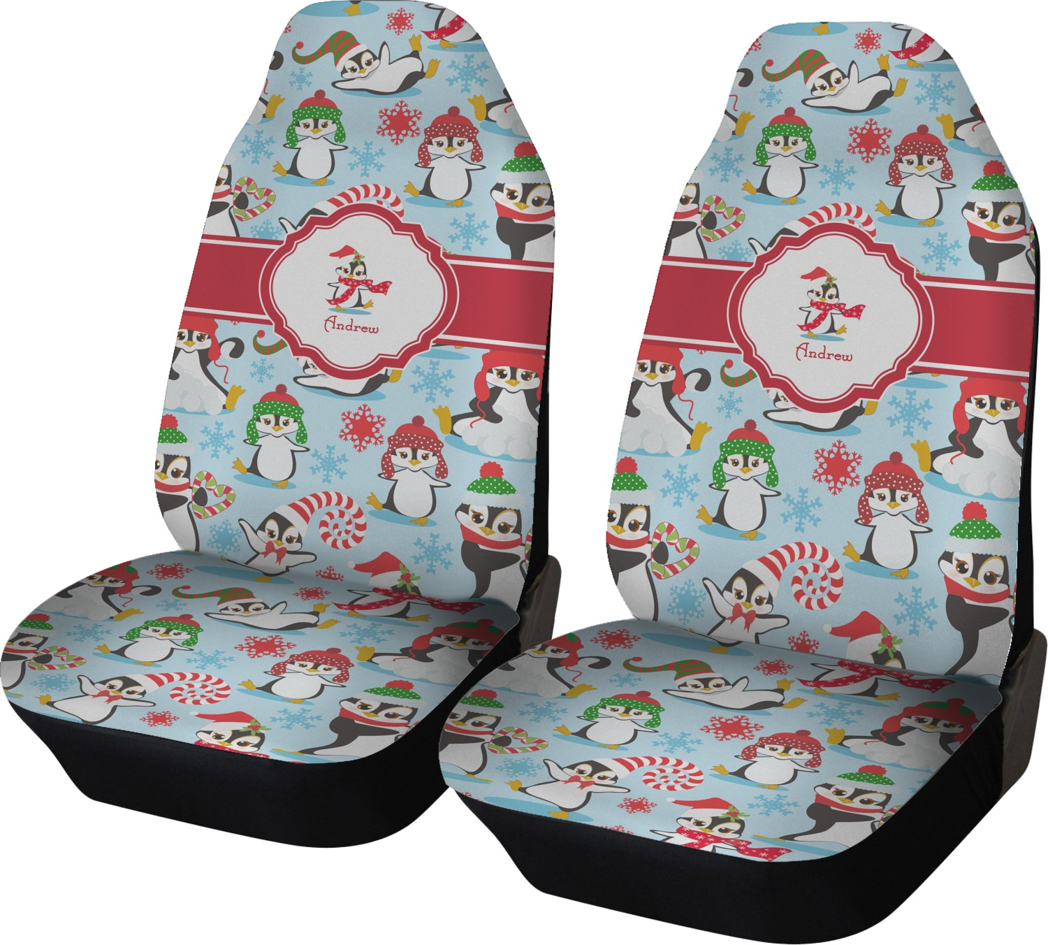 Christmas Penguins Car Seat Covers Set Of Two