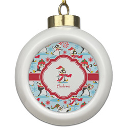 Christmas Penguins Ceramic Ball Ornament (Personalized)