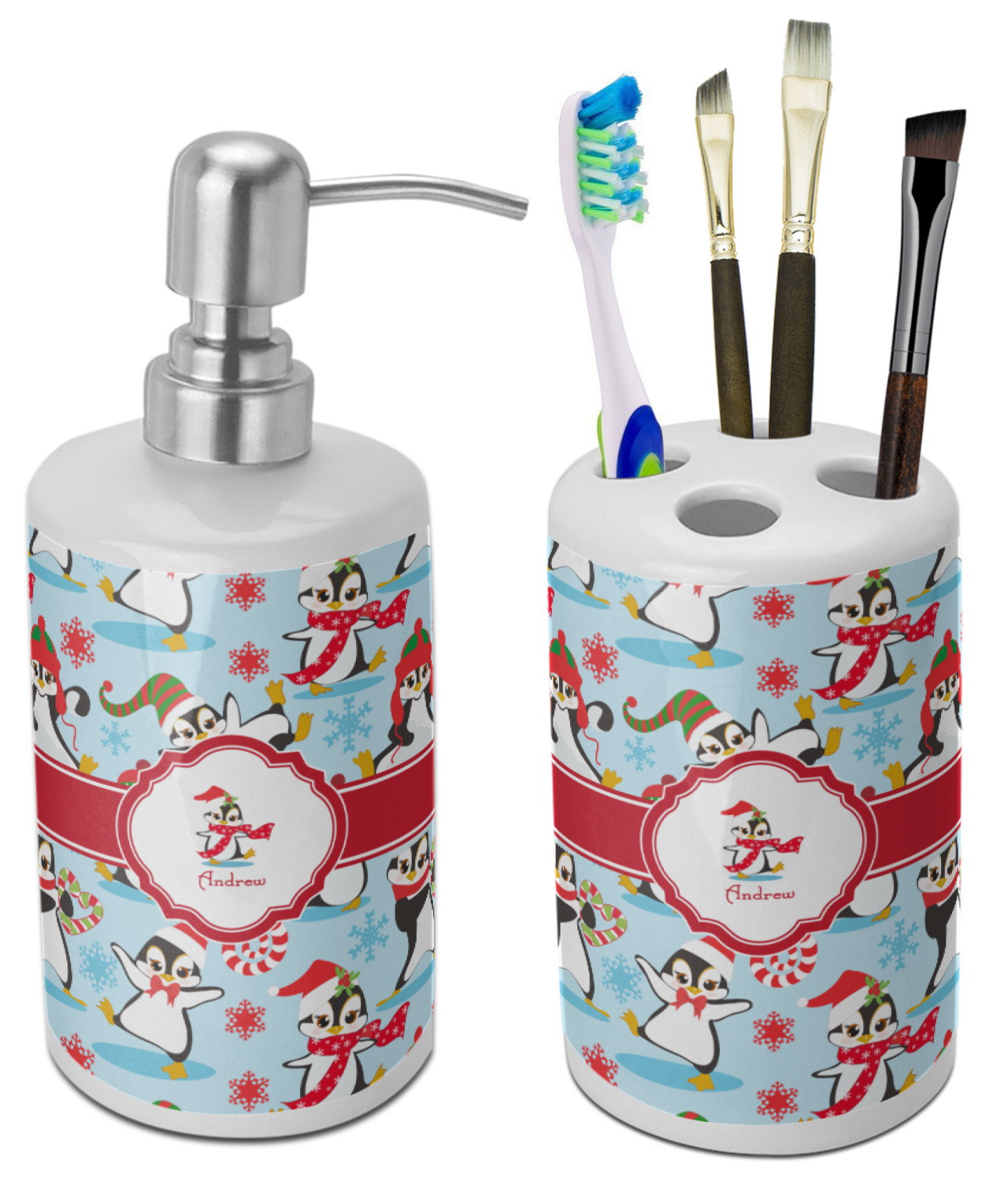 Christmas Penguins Bathroom Accessories Set Ceramic Personalized