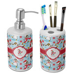 Christmas Penguins Bathroom Accessories Set (Ceramic) (Personalized)