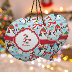 Christmas Penguins Ceramic Ornament w/ Name or Text