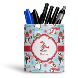 Christmas Penguins Ceramic Pen Holder