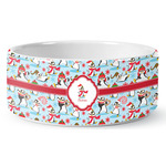 Christmas Penguins Ceramic Dog Bowl (Personalized)