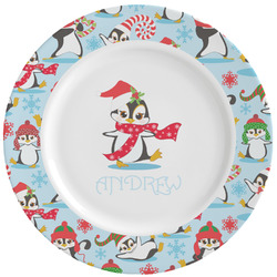 Christmas Penguins Ceramic Dinner Plates (Set of 4) (Personalized)