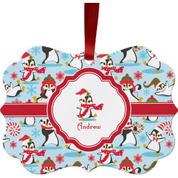 Christmas Penguins Metal Frame Ornament - Double Sided w/ Name or Text
