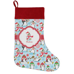 Christmas Penguins Holiday Stocking w/ Name or Text