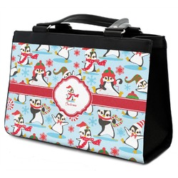 Christmas Penguins Classic Tote Purse w/ Leather Trim (Personalized)