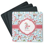 Christmas Penguins 4 Square Coasters - Rubber Backed (Personalized)