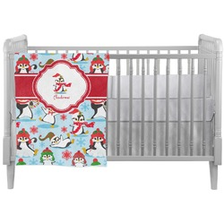 Christmas Penguins Crib Comforter / Quilt (Personalized)
