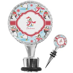 Christmas Penguins Wine Bottle Stopper (Personalized)