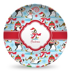 Christmas Penguins Microwave Safe Plastic Plate - Composite Polymer (Personalized)