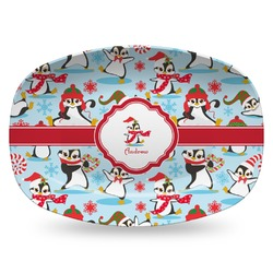 Christmas Penguins Plastic Platter - Microwave & Oven Safe Composite Polymer (Personalized)