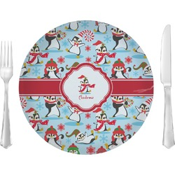 "Christmas Penguins Glass Lunch / Dinner Plates 10"" - Single or Set (Personalized)"