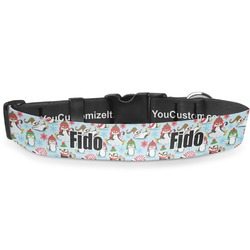 "Christmas Penguins Deluxe Dog Collar - Large (13"" to 21"") (Personalized)"