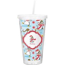 Christmas Penguins Double Wall Tumbler with Straw (Personalized)