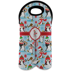 Christmas Penguins Wine Tote Bag (2 Bottles) (Personalized)