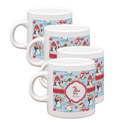 Christmas Penguins Espresso Mugs - Set of 4 (Personalized)