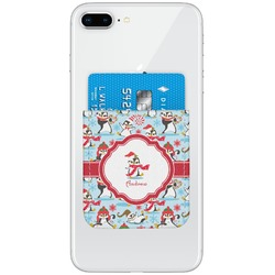 Christmas Penguins Genuine Leather Adhesive Phone Wallet (Personalized)