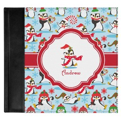 Christmas Penguins Genuine Leather Baby Memory Book (Personalized)