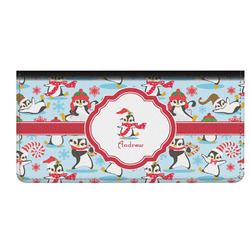 Christmas Penguins Genuine Leather Checkbook Cover (Personalized)
