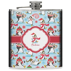 Christmas Penguins Genuine Leather Flask (Personalized)