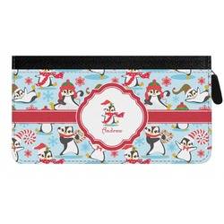 Christmas Penguins Genuine Leather Ladies Zippered Wallet (Personalized)