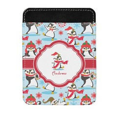 Christmas Penguins Genuine Leather Money Clip (Personalized)