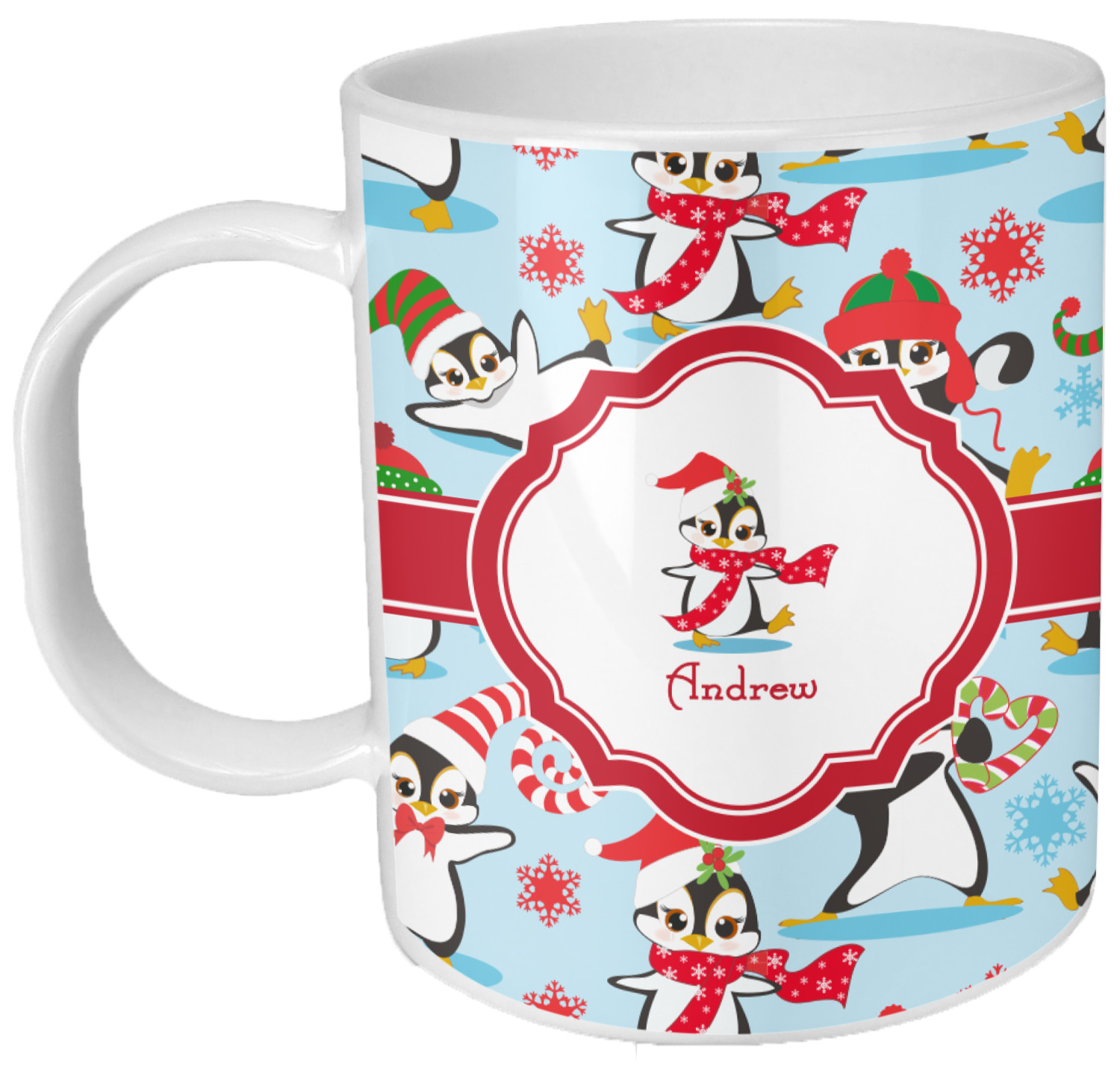 Christmas Penguins Plastic Kids Mug (Personalized) - YouCustomizeIt