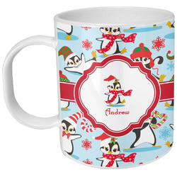 Christmas Penguins Plastic Kids Mug (Personalized)