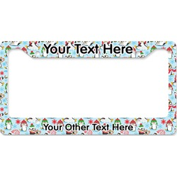 Christmas Penguins License Plate Frame (Personalized)