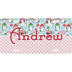 Christmas Penguins Front License Plate (Personalized)