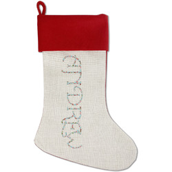 Christmas Penguins Red Linen Stocking (Personalized)