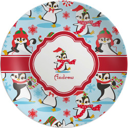 Christmas Penguins Melamine Plate (Personalized)