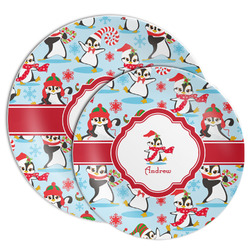 Christmas Penguins Melamine Plate (Personalized)