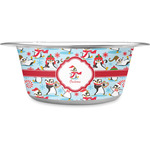 Christmas Penguins Stainless Steel Dog Bowl (Personalized)