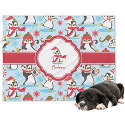 Christmas Penguins Dog Blanket (Personalized)