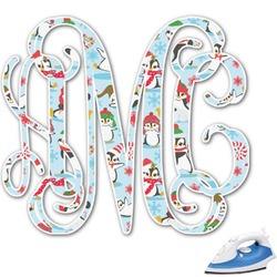 Christmas Penguins Monogram Iron On Transfer (Personalized)