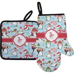 Christmas Penguins Oven Mitt & Pot Holder (Personalized)