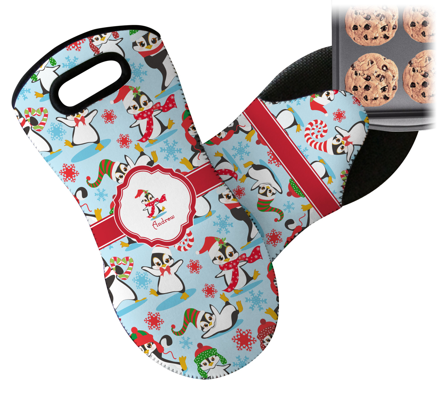 christmas penguins neoprene oven mitt personalized youcustomizeit
