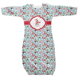 Christmas Penguins Newborn Gown - 3-6 (Personalized)