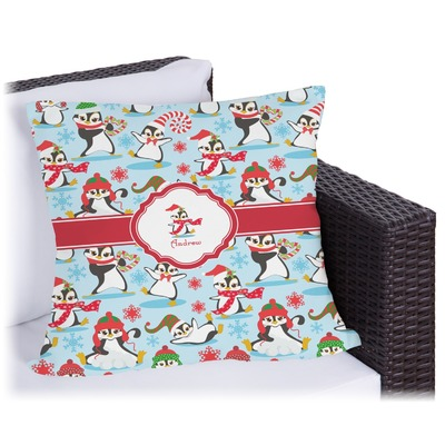Christmas Penguins Outdoor Pillow (Personalized)