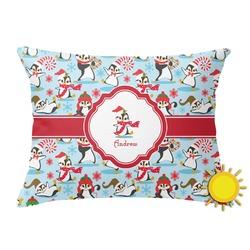 Christmas Penguins Outdoor Throw Pillow (Rectangular) (Personalized)