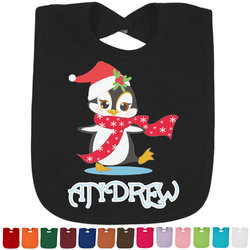 Christmas Penguins Baby Bib - 14 Bib Colors (Personalized)