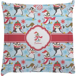 Christmas Penguins Euro Sham Pillow Case (Personalized)