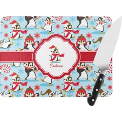 Christmas Penguins Rectangular Glass Cutting Board (Personalized)
