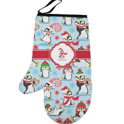 Christmas Penguins Left Oven Mitt (Personalized)