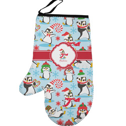 Christmas Penguins Left Oven Mitt (Personalized)
